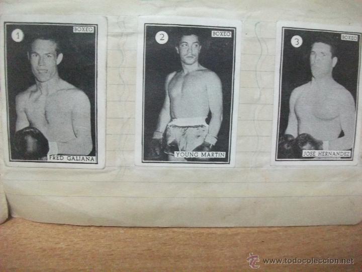 BOXEO COLECCION COMPLETA DE 65 CROMOS AÑOS 50. PEGADOS EN UNA LIBRETA. LUCHA (Coleccionismo Deportivo - Álbumes otros Deportes)