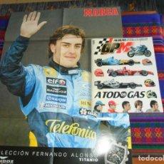 Coleccionismo deportivo: ALBUM GP MARCA A TODO GAS 05 FÓRMULA 1 F1 INCOMPLETO. REGALO PÓSTER FERNANDO ALONSO.. Lote 75974903