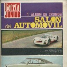 Coleccionismo deportivo: GACETA JUNIOR - 1R ALBUM DE CROMOS DEL SALON DEL AUTOMOVIL - UNISA 1968 - INCOMPLETO. Lote 113693727