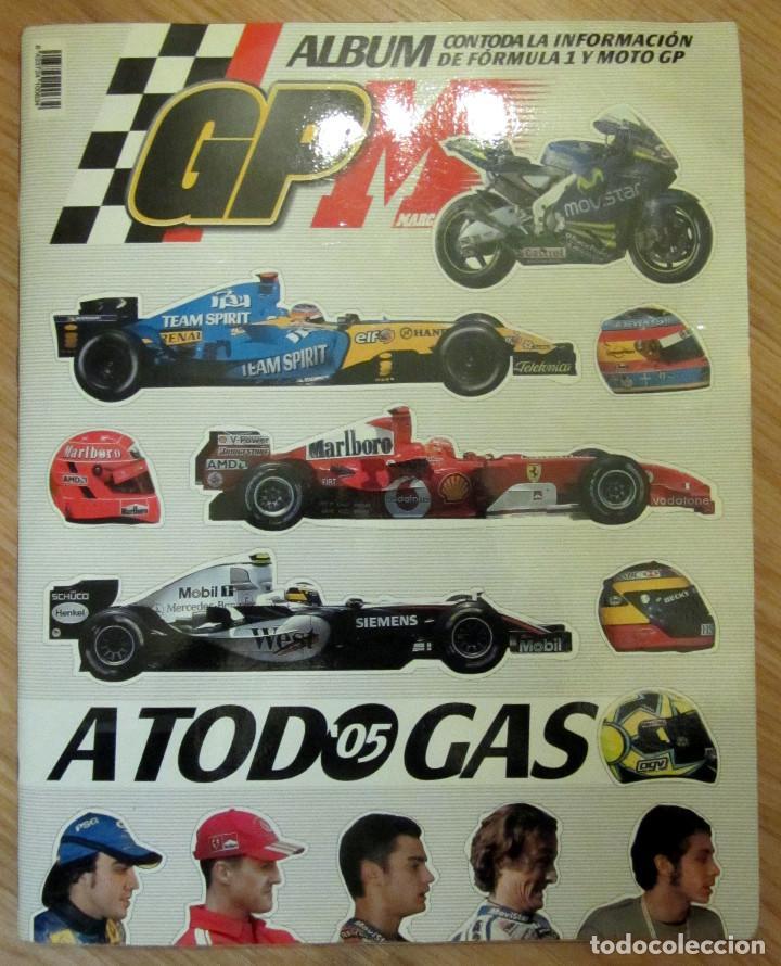 ALBUM COMPLETO GP MARCA FÓRMULA 1 F1 Y MOTO GP A TODO GAS 2005 FERNANDO ALONSO VALENTINO ROSSI (Coleccionismo Deportivo - Álbumes otros Deportes)