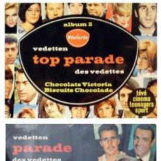 Coleccionismo deportivo: 2 ALBUM 1967 TOP PARADE 1 Y 2 FIGURAS TV CINE CANTANTES DEPORTE. BEATLES, ROLLING, PELE, EUSEBIO. Lote 120941223