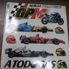 Coleccionismo deportivo: ALBUM INCOMPLETO. ALBUM CON TODA LA INFORMACION DE FORMULA 1 Y MOTO GP. GP MARCA. FALTAN 6.. Lote 125284859