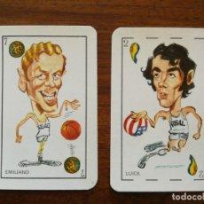 Coleccionismo deportivo: EMILIANO Y LUYK ( REAL MADRID - BALONCESTO ) - 2 CROMOS NAIPES DE 1976. Lote 25542841