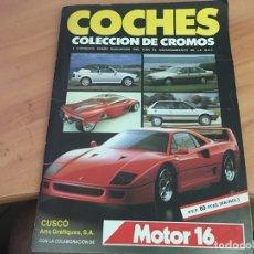 Coleccionismo deportivo: COCHES MOTOR 16 ALBUM COMPLETO . CUSCO ARTS GRAFIQUES (AB-1). Lote 166802982