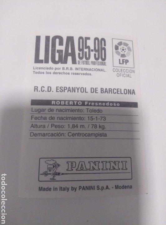 Coleccionismo deportivo: Cromo Panini liga 95 96 baja Roberto Espanyol sin pegar - Foto 2 - 205752725