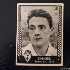 Coleccionismo deportivo: LINARES JAÉN N° 141 ASES DEL FÚTBOL, BRUGUERA 1953, 53. SIN PEGAR. VER FOTOS DE FRONTAL Y TRASERA. Lote 210358581