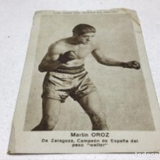 Coleccionismo deportivo: CROMO LOS ASES DEL BOXEO EN ESPAÑA - N° 11 - MARTIN OROZ - SIN PUBLICIDAD. Lote 215013552