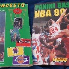 Coleccionismo deportivo: LOTE 2 ÁLBUM COMPLETO BALONCESTO PANINI BASKET NBA 90 JORDAN PETROVIC MERCHANTE 88. LEER. Lote 227681120