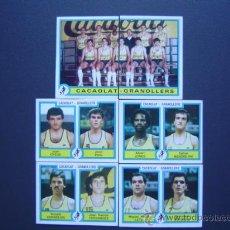 Coleccionismo deportivo: CACAOLAT GRANOLLERS - BASKET - 6 CROMOS PLANTILLA 84/85 (COMPLETO) - FUTBOL-BASKET 85 DE PANINI. Lote 23327111
