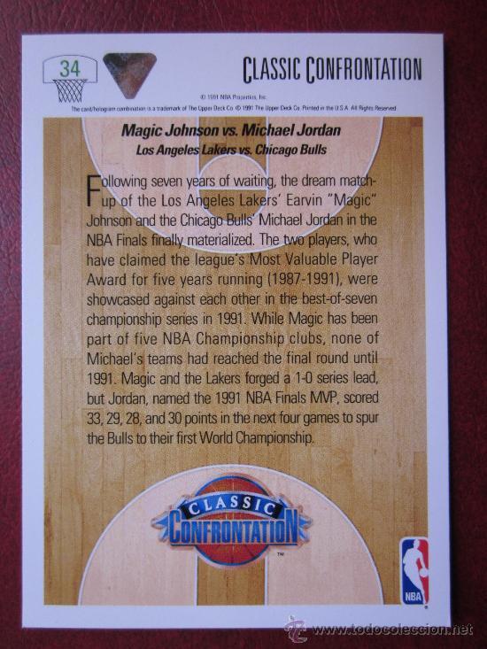 Coleccionismo deportivo: MAGIC JOHNSON vs. MICHAEL JORDAN - BALONCESTO BASKET NBA - AÑO 1991 - Foto 2 - 28246346