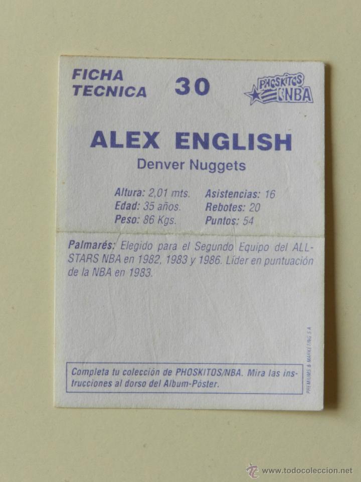 Coleccionismo deportivo: CROMO PEGATINA PHOSQUITOS NBA nº 30 Alex English Denver Nuggets - Foto 2 - 42345549