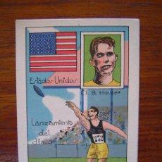 Coleccionismo deportivo: CL. B. HOUSER ( USA - ESTADOS UNIDOS ) - RECORD MUNDIAL 1926 - LANZAMIENTO DE DISCO - 1929. Lote 43814509