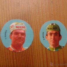 Coleccionismo deportivo: 2 ADHESIVOS DE CICLISTAS I. JUAREZ (HUESO) Y V. BELDA (KELME). Lote 144123089