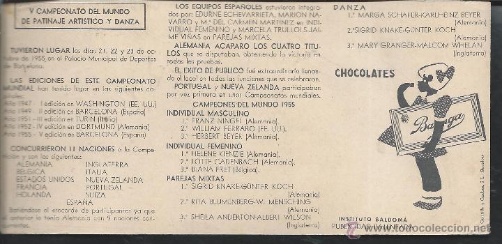 Coleccionismo deportivo: 8530- CROMO BRILLANTE CHOCOLATES BATANGA- CAMPEONATO DEL MUNDO DE PATINAJE ARTISTICO Y DANZA-1955 - Foto 2 - 52538550