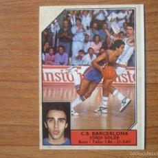 Coleccionismo deportivo: CROMO CONVERSE BALONCESTO 1988 89 Nº 190 JORDI SOLER (FC BARCELONA) FICHAJE - BASKET 1988 89 BARÇA. Lote 144121014