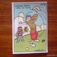 Coleccionismo deportivo: PRECIOSO CROMO DE GOLF - AÑOS 20 DIBUJADO POR MASIÁ - NÚMERO 13 DEPORTES. Lote 61147179