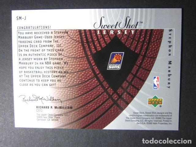 Coleccionismo deportivo: STEPHON MARBURY #SM-J JERSEY CAMISETA NBA SWEET SHOTS ROOKIE UPPER DECK 2002 2003 NUEVO - Foto 2 - 71823079
