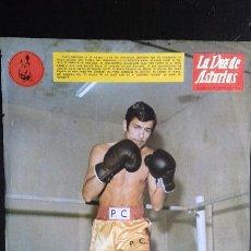 Coleccionismo deportivo: CROMO LÁMINA BOXEO DE PEDRO CARRASCO LA VOZ DE ASTURIAS 1967 Y EL ÁGUILA NEGRA ORIGINAL. Lote 73531363