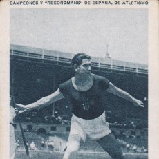 Coleccionismo deportivo: ANTIGUO CROMO CAMPEONES Y RECORDMANS DE ESPAÑA DE ATLETISMO - LUIS POU Nº 17 (SIN PUBLICIDAD). Lote 73703707