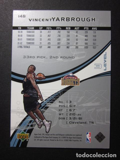 Coleccionismo deportivo: VINCENT YARBROUGH 2249/2999 SPX 2002 03 ROOKIE UPPER DECK NBA BASKETBALL CARD - Foto 2 - 74028203