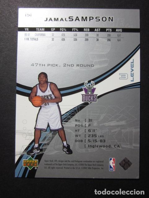 Coleccionismo deportivo: JAMAL SAMPSON 1014/2999 SPX 2002 03 ROOKIE UPPER DECK NBA BASKETBALL CARD - Foto 2 - 74028291