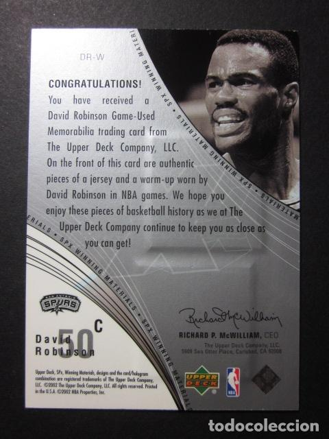 Coleccionismo deportivo: DAVID ROBINSON WINNING MATERIALS 2002 03 UPPER DECK NBA BASKETBALL CARD - Foto 2 - 74029247