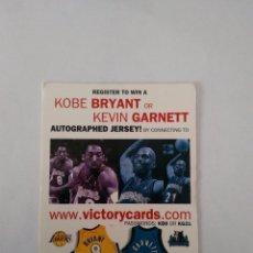 Coleccionismo deportivo: CROMO ESPECIAL DE BALONCESTO UPPERDECK 2000 NBA BASKETBALL-VICTORYCARDS: KOBE BRYANT & KEVIN GARNETT. Lote 104089871