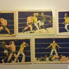 Coleccionismo deportivo: 5 CROMOS CHOCOLATE JUNCOSA BOXEO BOXEADOR UN MATCH EXHIBICION 4 6 9 14 15. Lote 107653202