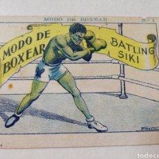Coleccionismo deportivo: MODO DE BOXEAR CROMO ANTIGUO DE CHOCOLATE AMATLLER BOXEO. Lote 109344207