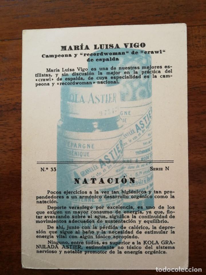 Coleccionismo deportivo: MARIA LUISA VIGO ( CAMPEONA ESPAÑA NATACION FEMENINA ) MOMENTOS ESTELARES DEL DEPORTE KOLA ASTIER - Foto 2 - 114240967