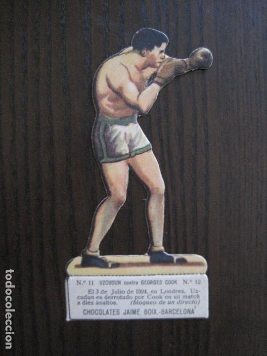 CROMO TROQUELADO BOXEO CHOCOLATES BOIX-BARCELONA-NUM11 12 UZCUDUN COOK -VER FOTOS - (V-13.901) (Coleccionismo Deportivo - Cromos otros Deportes)