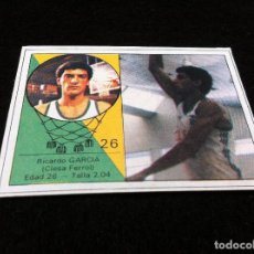 Coleccionismo deportivo: CROMO DE BALONCESTO (YOGUR LETONA) RICARDO GARCÍA. (CLESA FERROL) CROMO SIN USO. Nº 26. Lote 180158586