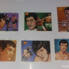Coleccionismo deportivo: LOTE QUELCOM ASES MUNDIALES 1979, BOXEADORES (UZCUDUN, URTAIN, CARRASCO, ETC.). 6 CROMOS DIFERENTES. Lote 128725903