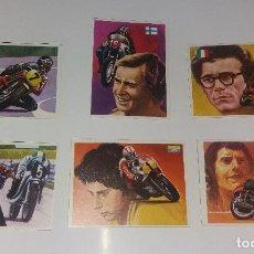 Coleccionismo deportivo: LOTE QUELCOM ASES MUNDIALES 1979, MOTOCICLISMO (AGOSTINO, SAARINEN, SHEENE, ETC.). 6 CROMOS. Lote 128726299