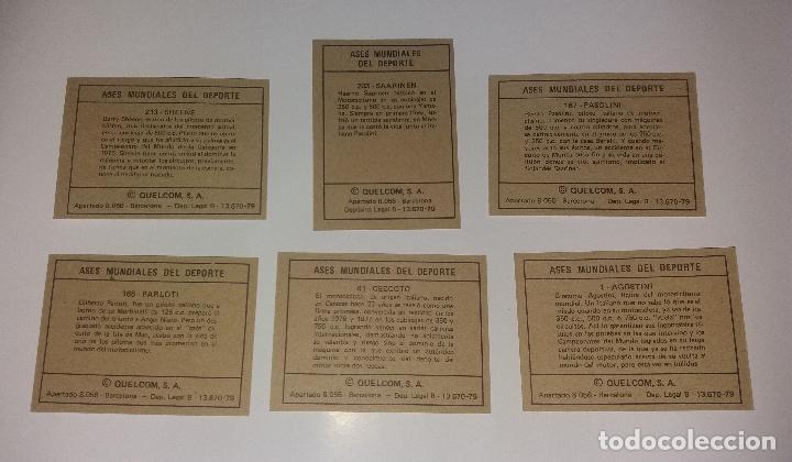 Coleccionismo deportivo: Lote Quelcom Ases Mundiales 1979, Motociclismo (Agostino, Saarinen, Sheene, etc.). 6 cromos - Foto 2 - 128726299