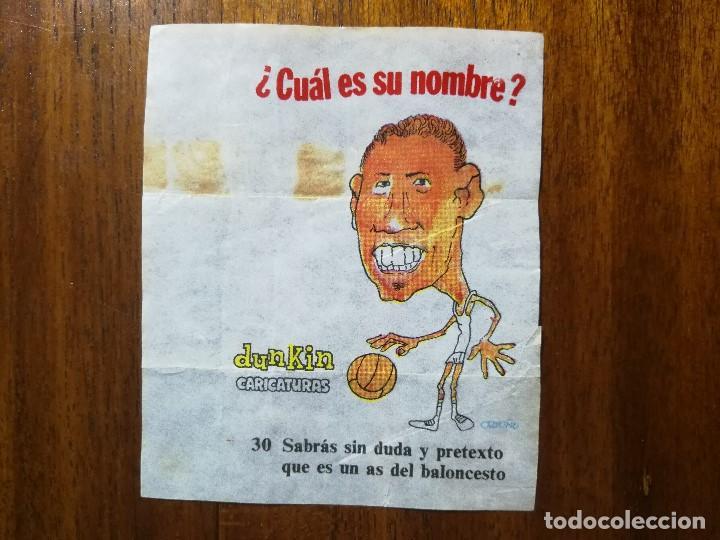 EMILIANO RODRIGUEZ ( REAL MADRID ) NÚM 30 CHICLES DUNKIN CARICATURAS ¿CUÁL ES SU NOMBRE? BASKET (Coleccionismo Deportivo - Cromos otros Deportes)