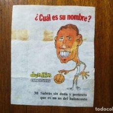 Coleccionismo deportivo: EMILIANO RODRIGUEZ ( REAL MADRID ) NÚM 30 CHICLES DUNKIN CARICATURAS ¿CUÁL ES SU NOMBRE? BASKET . Lote 133265166