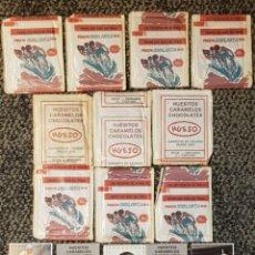 Coleccionismo deportivo: 10 SOBRES SIN ABRIR Y 5 CROMOS DE CHOCOLATES HUESO VUELTA CICLISTA 1984 EDITORIAL MERCHANTE. Lote 133887175