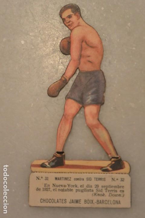 CROMO TROQUELADO DE BOXEO MARTINEZ CONTRA SID TERRIS. Nº 32 CHOCOLATES JAIME BOIX BARCELONA (Coleccionismo Deportivo - Cromos otros Deportes)