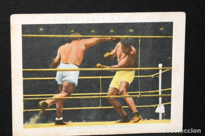 CROMO DE BOXEO PAULINO UZCUDUN Y SPALLA EN EL COMBATE- CHOCOLATE AMATLLER (Coleccionismo Deportivo - Cromos otros Deportes)