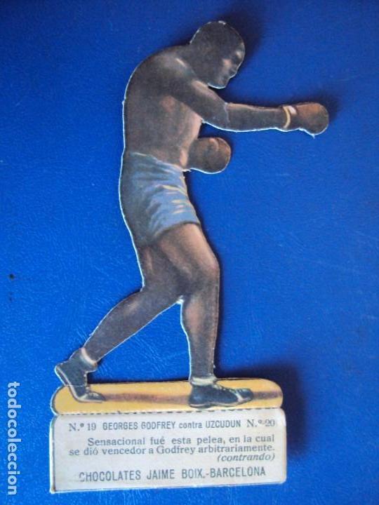 (PA-28)CROMO TROQUELADO BOXEO-JAIME BOIX-GOFREY CONTRA UZCUDUN (Coleccionismo Deportivo - Cromos otros Deportes)