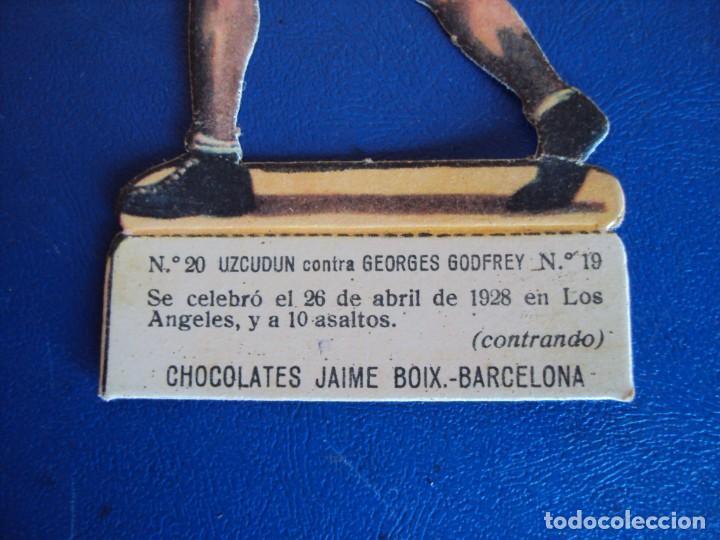 Coleccionismo deportivo: (PA-18)CROMO TROQUELADO BOXEO-CHOCOLATES JAIME BOIX-UZCUDUM CONTRA GEORGES GODFREY - Foto 2 - 138220474
