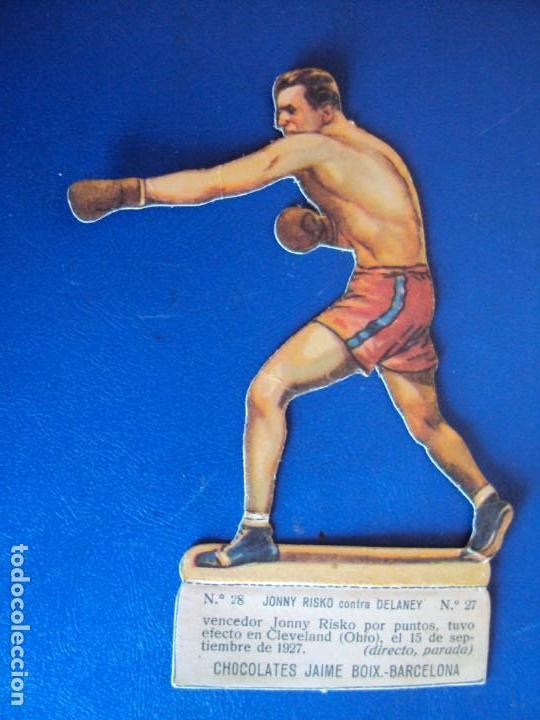 (PA-22)CROMO TROQUELADO BOXEO-CHOCOLATES JAIME BOIX-JOHNY RISKO CONTRA DELANEY (Coleccionismo Deportivo - Cromos otros Deportes)