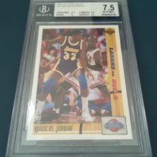 Coleccionismo deportivo: CARD NBA 1991-92 MAGIC JOHNSON / MICHAEL JORDAN BGS 7.5. Lote 138861690