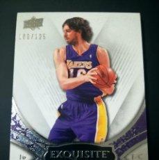 Coleccionismo deportivo: CARD NBA EXQUISITE PAU GASOL / LAKERS. Lote 144160042