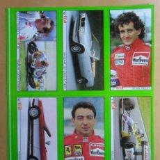 Coleccionismo deportivo: LAMINA CON 6 CROMOS - MOTOR - RANDY MAMOLA - ALAIN PROST - MICHELE ALBORETO - DIARIO AS. Lote 153429770
