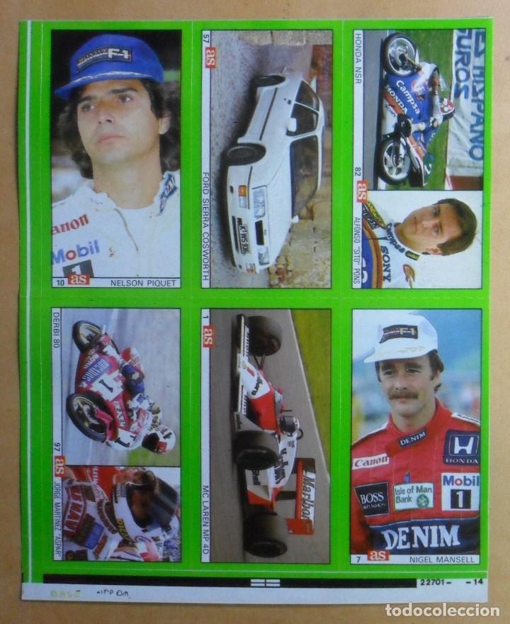 LAMINA CON 6 CROMOS - MOTOR - NELSON PIQUET-NIGEL MANSELL-SITO PONS-ASPAR - DIARIO AS (Coleccionismo Deportivo - Cromos otros Deportes)