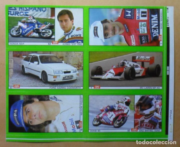 Coleccionismo deportivo: LAMINA CON 6 CROMOS - MOTOR - NELSON PIQUET-NIGEL MANSELL-SITO PONS-ASPAR - DIARIO AS - Foto 2 - 153434602