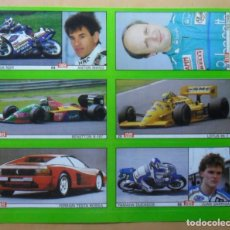 Coleccionismo deportivo: LAMINA CON 6 CROMOS - MOTOR - JUAN GARRIGA - ANTON MANG - TEO FABI - DIARIO AS . Lote 153434826