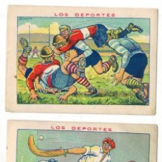 Coleccionismo deportivo: LOS DEPORTES - CHOCOLATES AMATLLER - RUGBY - PELOTA VASCA - REMO. Lote 154853810